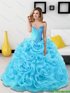 Elegant Beading and Rolling Flowers Sweetheart Quinceanera Dresses in Aqua Blue for 2015