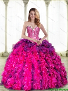 Pretty Multi Color Sweetheart 2015 Quinceanera Dresses with Beading and Ruffles