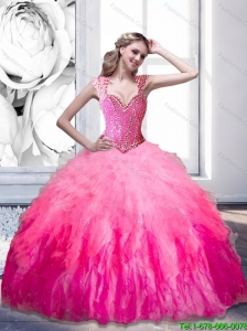 The Super Hot Beading and Ruffles 2015 Sweetheart Quinceanera Dresses in Multi Color