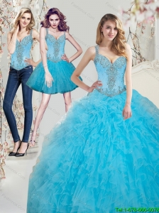 2015 Custom Made Beading Aqua Blue Quinceanera Dresses