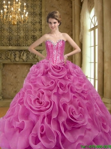 2015 Perfect Fuchsia Quinceanera Dresses with Beading and Rolling Flowers