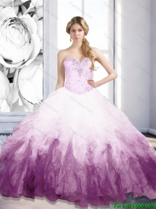 2015 Perfect Sweetheart Multi Color Quinceanera Dresses with Beading and Ruffles