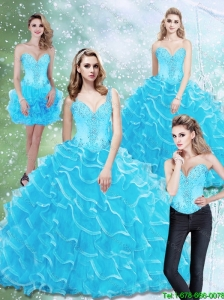 2015 Perfect Sweetheart Quinceanera Dresses with Beading and Ruffled Layers