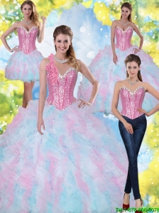 2015 Perfect Sweetheart Beading and Ruffles Quinceanera Dresses in Multi Color