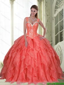 2015 Pretty Beading and Ruffles Coral Red Quinceanera Dresses with Sweetheart