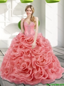 Custom Made Beading and Rolling Flowers 2015 Watermelon Sweet 15 Dresses