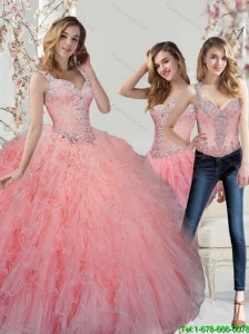 Custom Made Beading and Ruffles Watermelon Quinceanera Dresses