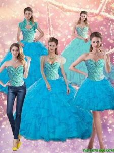 Perfect Baby Blue Beading and Ruffles Sweetheart Quinceanera Dresses for 2015