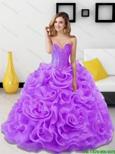 Perfect Beading and Rolling Flowers Lavender 2015 Quinceanera Dresses