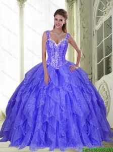Perfect Beading and Ruffles Quinceanera Dresses in Lavender for 2015
