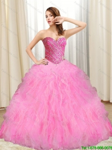 Perfect Beading and Ruffles Quinceanera Dresses in Multi Color for 2015