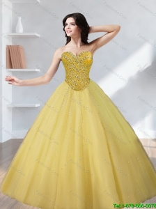 Perfect Tulle Beading Sweetheart Gold Quinceanera Dresses for 2015