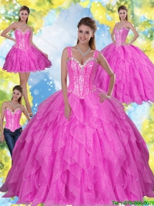 Pretty Beading and Ruffles 2015 Fuchsia Quinceanera Dresses