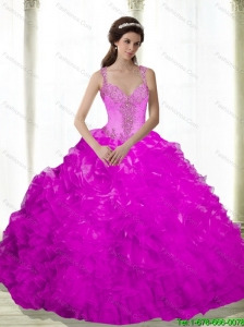 Pretty Beading and Ruffles Sweetheart Fuchsia 2015 Quinceanera Dresses