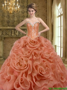 2015 Puffy Beading and Rolling Flowers Rust Red Quinceanera Dresses
