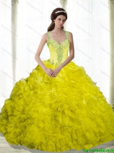 2015 Puffy Yellow Beading and Ruffles Sweetheart Quinceanera Dresses