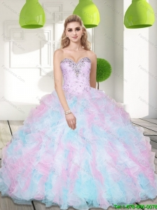 Beautiful Sweetheart Beading and Ruffles 2015 Sweet 16 Dresses in Multi Color