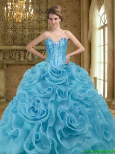 Fashionable Beading and Rolling Flowers Baby Blue 2015 Sweet 16 Dresses
