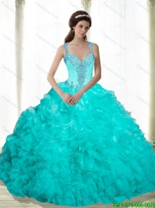 Latest Beading and Ruffles 2015 Sweet 16 Dresses in Aqua Blue