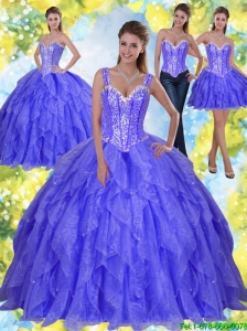 Latest Beading and Ruffles 2015 Sweet 16 Dresses in Lavender