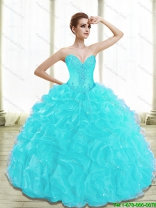 Luxurious Appliques and Ruffles Aqua Blue Sweet 16 Dresses