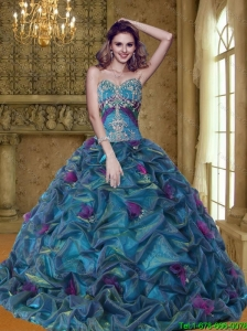 Luxurious Colorful Sweet 16 Dresses with Appliques and Pick Ups