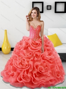 Popular Beading and Rolling Flowers Coral Red Sweet 16 Dresses for 2015