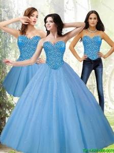 Popular Tulle Sweetheart Beading Blue Sweet 16 Dresses for 2015