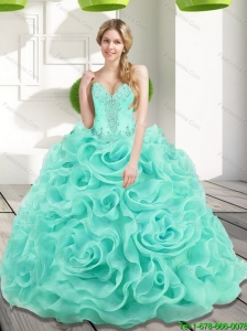 Puffy Beading and Rolling Flowers 2015 Quinceanera Dresses in Aqua Blue
