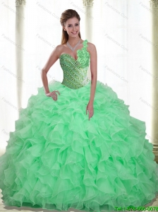Puffy Beading and Ruffles Apple Green 2015 Quinceanera Dresses with Sweetheart