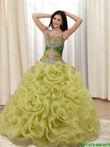 Puffy Straps Appliques and Rolling Flowers Multi Color Quinceanera Dresses for 2015
