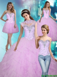 Unique 2015 Beading and Ruffles Ball Gown Quinceanera Dresses
