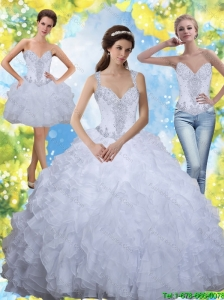 Unique 2015 Beading and Ruffles White Sweet Sixteen Dresses