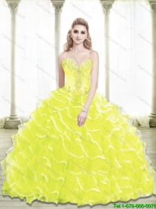 Unique Sweetheart Beading and Ruffled Layers Yellow Quinceanera Dresses