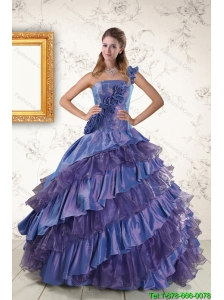 2015 Custom Made One Shoulder Hand Made Flowers and Ruffled Layers Quinceanera Dresses