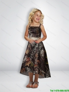 New Style A Line Straps Tea Length Camo Little Girl Pageant Dresses with Beading