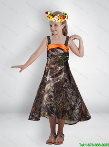 New Style High Low Straps Camo Little Girl Pageant Dresses with Sashes