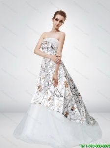 2015 Strapless Court Train Camo Wedding Dresses with Ruching