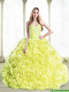 Beautiful Beaded Quinceanera Dresses with Rolling Flowers in Yellow For 2015 Summer