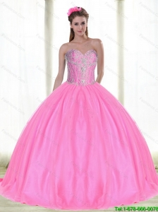 Beautiful Sweetheart Quinceanera Dresses with Beading in Pink For 2015 Summer