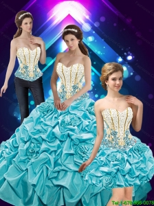 Elegant Hand Made Flowers and Beaded Quinceanera Dresses with Pick Ups For 2015 Summer