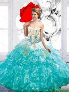 Luxurious Floor Length Quinceanera Dresses with Beading and Ruffles For 2015 Summer