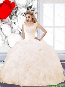 New Arrival 2015 Summer Champagne Quinceanera Dress with Beading and Ruffles