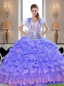 Prefect Beaded Lavender Quinceanera Dresses with Appliques For 2015 Summer