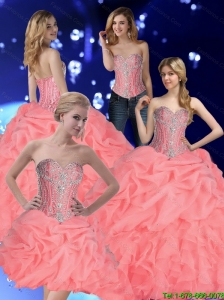 2015 Fall Pretty Quinceanera Dresses with Pick Ups and Beading in Watermelon