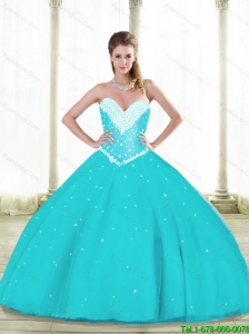 2015 Summer Elegant Aqua Blue Quinceanera Dresses with Beading and Ruffles