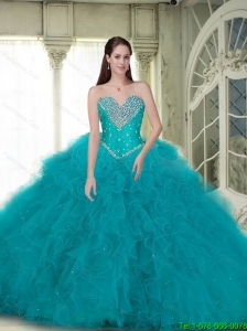 2015 Summer Elegant Ball Gown Quinceanera Dresses with Beading and Ruffles in Turquoise