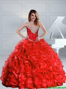 2015 Summer Prefect Beaded and Ruffles Quinceanera Dresses in Red