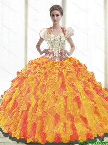 Beautiful Ball Gown Sweetheart Quinceanera Dresses with Ruffles For 2015 Summer