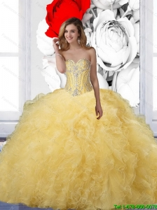 Beautiful Ball Gown Yellow Quinceanera Dresses with Beading For 2015 Fall
